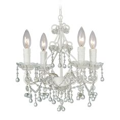 Crystorama Lighting Crystal Mini-Chandelier in Wet White Finish 4514-WW-CLEAR