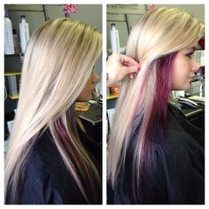 Gave this blondie an all over highlight & purple peekaboos all over…