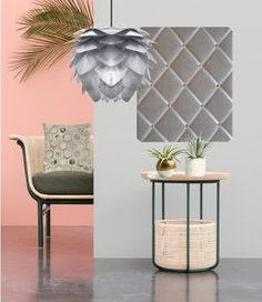 Pink and Grey Interior, Featuring grey linen memo board, artichoke pendant and tropical fronds..