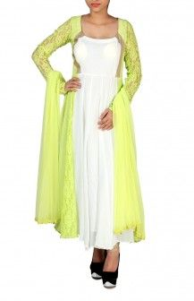Green Lace And White Anarkalli  Rs. 8,420