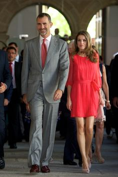"""Prince Felipe of Spain and Princess Letizia of Spain attend the """"Instituto Cervantes"""" directors meeteng at the San Francisco Cultural center on 23 July 2013 in Caceres, Spain"""