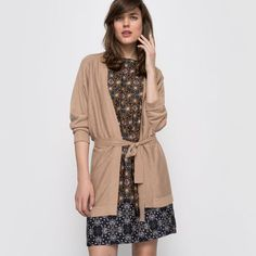Długi niezapinany sweter wiązany w pasie, cienka dzianina z bawełny i jedwabiu LAURA CLEMENT