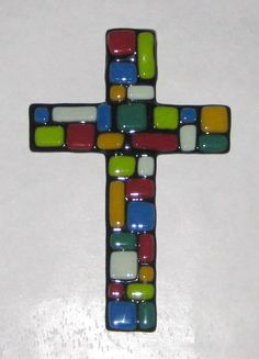 soft fused glass cross on black for mosaic effect Fused Glass Ornaments, Fused Glass Art, Mosaic Glass, Mosaic Crosses, Wall Crosses, Cross Wall Art, Crosses Decor, Glass Fusion Ideas, Stain Glass Cross