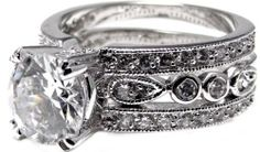 """Triple-Stacked Elegant Vintage Round Simulated White Diamond Engagement Ring, White Gold Plated Rhodium Plated Metal Ziva, LLC. $49.99. Stones reflect and transmit light beautifully (i.e. lots of """"sparkle""""). Get 15% off your order when you order 2 or more items sold by Ziva, LLC (20% for 4 or more)-use claim code SHOPZIVA at checkout"""