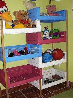 pallet fruit crates kids toys shelves