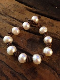 Baroque freshwater Pearl and Leather Bracelet on Etsy, $75.00  Pearl and leather jewelry