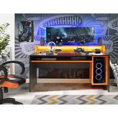 Computerschreibtisch in Schwarz und Orange mit Monitoraufsatz B/H/T ca. Computer Gaming Room, Computer Desk Setup, Gaming Room Setup, Pc Desk, Gaming Desk Diy, Pc Gaming Table, Gaming Rooms, Pc Setup, Gameroom Ideas