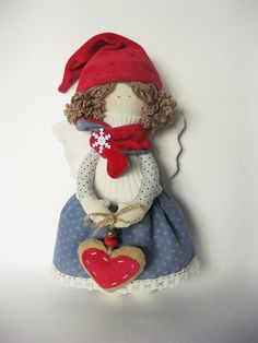 Christmas Angel, Christmas decoration, textile Angel doll, cloth fabric doll gray with red