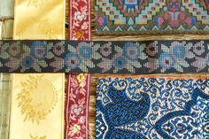 Antique 8 Ribbons sample collection in Gold, Burgundy, Orange, Blue, Purple & Green tones, scrapbooking, embroidery, textile, tapestry