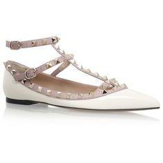 Valentino Rockstud Patent Ballet Flats ($780) ❤ liked on Polyvore featuring shoes, flats, ballet shoes, ballerina shoes, ballet pumps, studded shoes and patent leather ballet flats