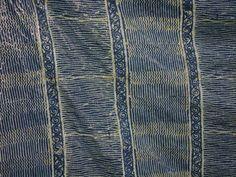 Wax-resist indigo-dyed silk sari at Aranya, Bangladesh, 2006. Photo by Mary Lance