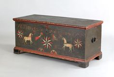 "Pook & Pook. October 24th & 25th 2008. Lot 119.  Estimated: $20K - $30K. Realized Price: $25740. Pennsylvania painted pine dower chest dated 1788, inscribed ""Diese Kist Gehert Mir Abraham Brubacher 1788/J.F. April den 22"", with center pinwheel flanked by parrots and horses on dark green ground, 22 1/4"" h., 48 1/4"" w. Illustrated in Fabian, The Pennsylvania German Decorated Chest, fig. 135, where it is attributed to the workshop of Johann Flory of Lancaster County."
