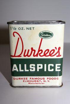 Vintage Durkee's Allspice Tin by Durkee Famous Foods, Elmhurst, NY, Glidden Quailty Products