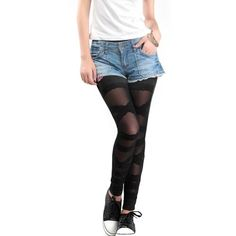 LOCOMO Women Lace Mesh Inset Stripes Ankle Length « Clothing Impulse