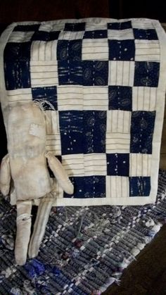Primitive Doll Quilt  Antique Blue Quilt Blocks by countrypresence