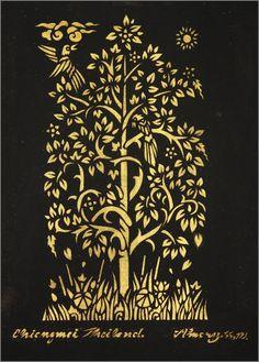 Thai traditional stencil art of bodhi tree - stencil on cotton
