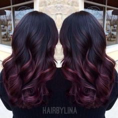 Hmmmm what color of burgundy or red is this. For my hair. Are you looking for hair color highlights and lowlights for brunettes blonde caramel? See our collection full of hair color highlights and lowlights for brunettes blonde caramel and get inspir Hair Color Highlights, Hair Color Balayage, Blonde Ombre, Burgundy Balayage, Burgundy Highlights, Burgundy Hair Ombre, Black And Burgundy Hair, Dark Plum Hair, Color Blue