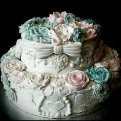 Tiffany Blue, Baby Pink & White Wedding Cake ~ Custom-Made-To-Order Cakes & Desserts for All Occasions  www.sumptuoustreats.com