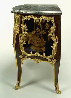 Attributed to Joseph Baumhauer  French, Paris, about 1750  Oak veneered with panels of Japanese lacquer and painted with French vernis Martin; gilt-bronze mounts; campan mélangé vert marble top  2 ft. 10 3/4 in. x 4 ft. 9 1/2 in. x 2 ft. 5/8 in. 55.DA.2