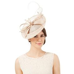 J by Jasper Conran Beige windowpane quill fascinator | Debenhams