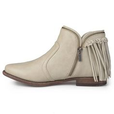 Women's Journee Collection Fringed Riding Booties - Stone (Grey) 11, Durable