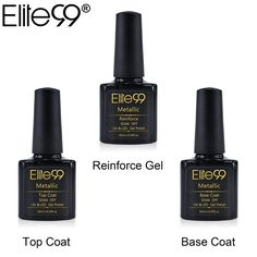 Promo Elite99 10ml Metallic Top Coat Base Coat Manicure Soak Off UV LED Reinforce Gel Lacquer 3pcs. Click visit to read descriptions