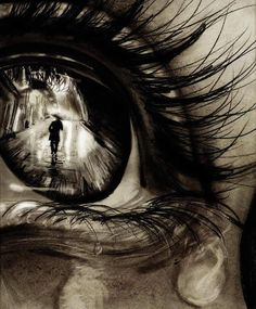 3D eye and tears tattoo on back