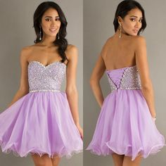 Dresscode New Arrival Sparkly Homecoming Dresses Open Back Beading Corset Lilac Prom Party Gowns Organza WJJ-80011