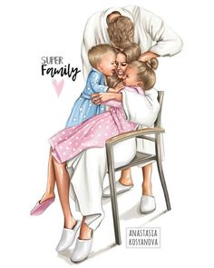 Family💕🌸💕 A cover or passport cover with this illustration can be ordered at make . Mother Daughter Art, Mother Art, Bff Abbildungen, Fashion Sketches, Art Sketches, Sarra Art, Poster Photo, Family Drawing, Bff Drawings