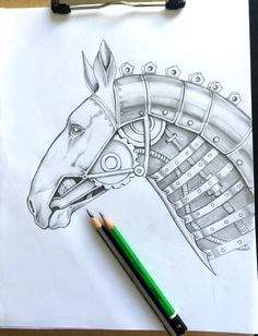 """⚙ Playing with some horse realism and steam punk style to be included in the coming adult coloring book for all you horse lovers :)  New Book """"Horses : Mysteries And Wonders"""" You can grab it here on sale on amazon."""