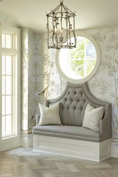 Upholstered Bench - Love the round detail at the top joining the window                                                                                                                                                     More