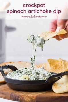 Creamy and delicious, crockpot spinach artichoke dip is so easy to make, great with a variety of dippers, and always a hit at parties. It can be baked in the oven if you prefer. Spinach Artichoke Dip, Spinach Dip, Spinach Recipes, Dip Recipes, Appetizer Recipes, Cooking Recipes, Appetizers, Tiramisu Dip Recipe