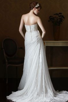 Style * GL058 * » Wedding Dresses » Gold Label 2014 Fall Collection » by Eden Bridals » Available Colours : White, Ivory ~ Shown Sweetheart Bodice lined with Beaded embellishment at Neckline & Beaded Ribbon at waist (back)