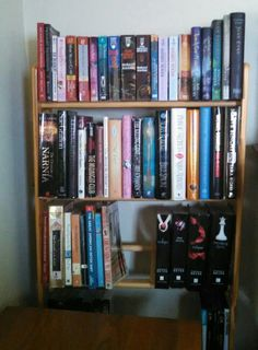 DVD rack repurposed into a bookshelf. Just make sure it's in a safe place where pets or children won't knock it over.