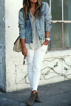 Love this vibe. Esp white pants, denim jacket & shoes