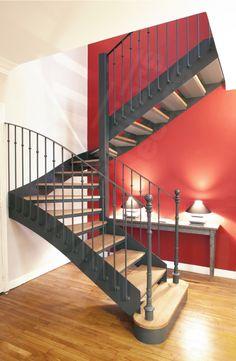 Escalier 2 quartiers tournant de style Bistrot métal et bois.