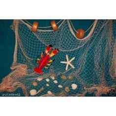 10 X 8 Ft New Decorative Fish Net, Fishing Net, Seashells, Lobster, Rope, Floats for Nautical Decor Display