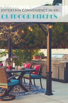 Extend your living, dining, and culinary spaces into the outdoors. A warmly lit pergola illuminates stylish patio furniture and decor. An adjacent outdoor kitchen boasts a modular grill and select add-ons like a sink, side burner, or refrigerator for ultimate convenience.