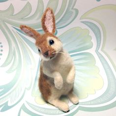 Needle Felted Miniature Rabbit / Bunny by FacciDesigns on Etsy