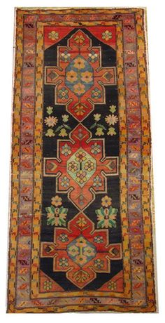 Hand Knotted in Russia circa 1940 100% wool 3 medallions Even wear throughout, some rough edges