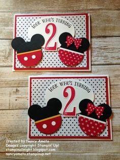 Stampin' All Night: Meeska, Mooska, Mickey Mouse! Birthday Cards For Boys, Mickey Mouse Birthday, Handmade Birthday Cards, 2nd Birthday, Kids Cards, Baby Cards, Mimi Y Mickey, Disney Cards, Mickey Mouse Parties