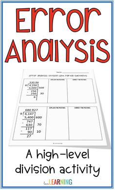 One of the best ways to increase student achievement in math is through high level activities like error analysis. This activity requires math students to analyze mistakes in a division problem that uses the partial quotient method. Students analyze the m Teaching Measurement, Teaching Math, Teaching Decimals, Teaching Ideas, Maths, Division Activities, Math Division, Math Classroom, Classroom Design