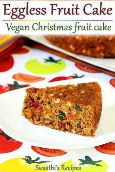 Eggless fruit cake - This delicious light & moist Christmas cake is simple and super quick to make. Vegan Fruit Cake, Chocolate Fruit Cake, Eggless Dates Cake Recipe, Cake Recipes, Dessert Recipes, Fruit Recipes, Eggless Baking, Peda, Vegan Recipes