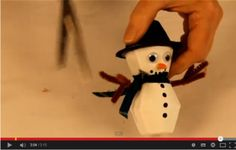 How to Make Egg Carton Snowman Tutorial  This is a fun winter activity for kids when it is too cold to go outside.