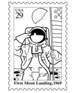 Apollo 11 Moon Landing Postage Stamp Coloring Pages