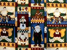 Christmas Santa, Snowmen and Angels Fabric - 1 yard by DocksideDesignsEtc on Etsy
