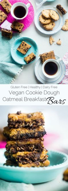 Vegan Cookie Dough Oatmeal Breakfast Bars - These gluten free breakfast bars let you feel like you're having dessert for breakfast! They're an easy, portable option to have for busy mornings! Great for meal prep! | Foodfaithfitness.com | @Taylor | Food Faith Fitness - Healthy Gluten Free Recipes & Fitness Tips
