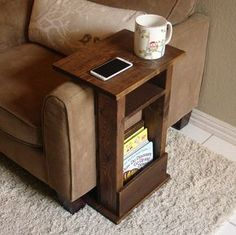 Sofa Chair Arm Rest Table Stand II with Shelf and Storage Pocket for Magazines by KeoDecor on Etsy https://www.etsy.com/listing/250949526/sofa-chair-arm-rest-table-stand-ii-with