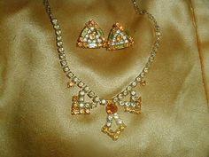 Vintage Signed Kramer NY Art Deco Topaz Citrine Rhinestone Necklace Earring Demi Parure