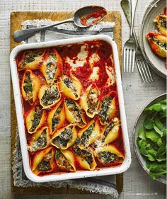 Baked sausage-and-kale-stuffed pasta shells (Olive Magazine), Mar 2020 Baked Sausage, Chilli Pasta, Chilli Flakes, Stuffed Pasta Shells, The Dish, Tomato Sauce, Kale, Vegetable Pizza, Fries